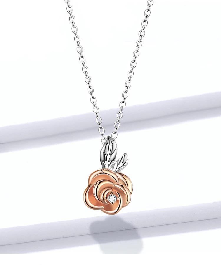 Collier Rose Fleur Diamant Argent