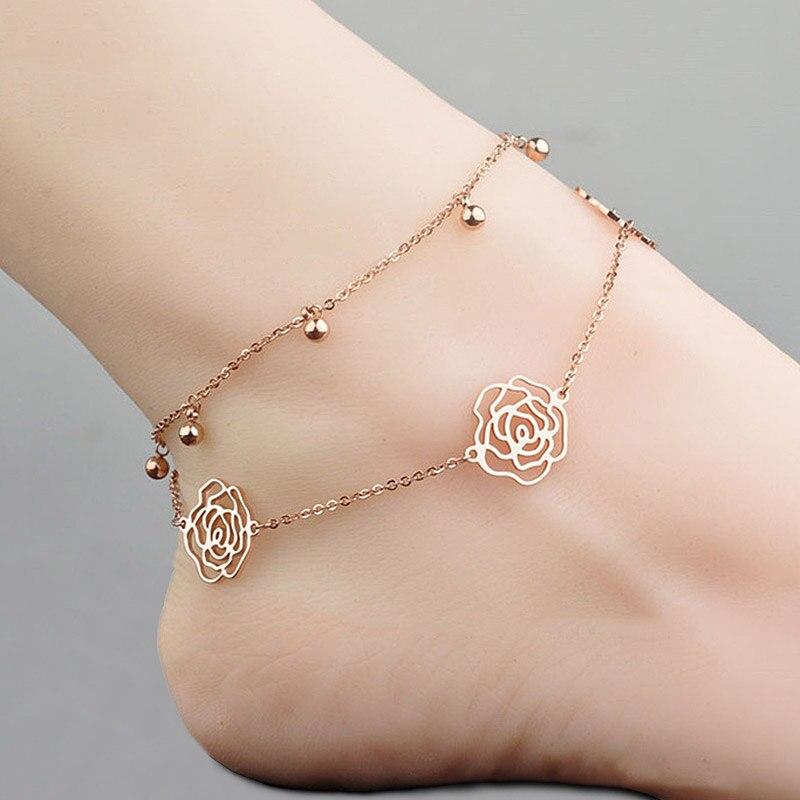Bracelet de Cheville Rose Creuse