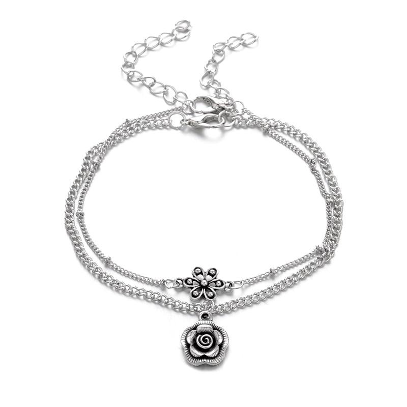 Double Bracelet de Cheville Rose Fleur