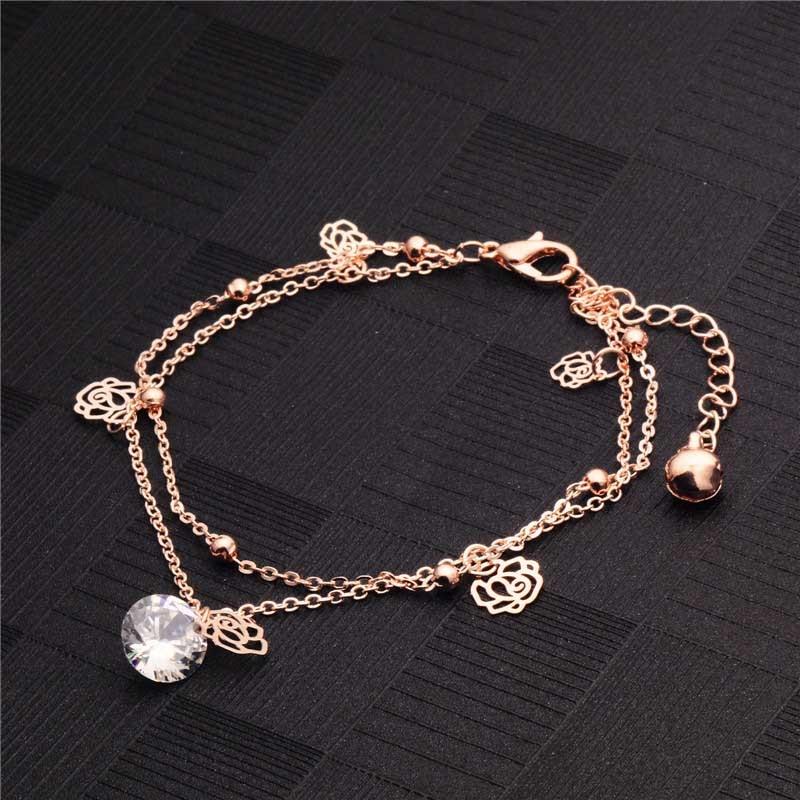 Bracelet de Cheville Rose Fleur Creuse Cristal