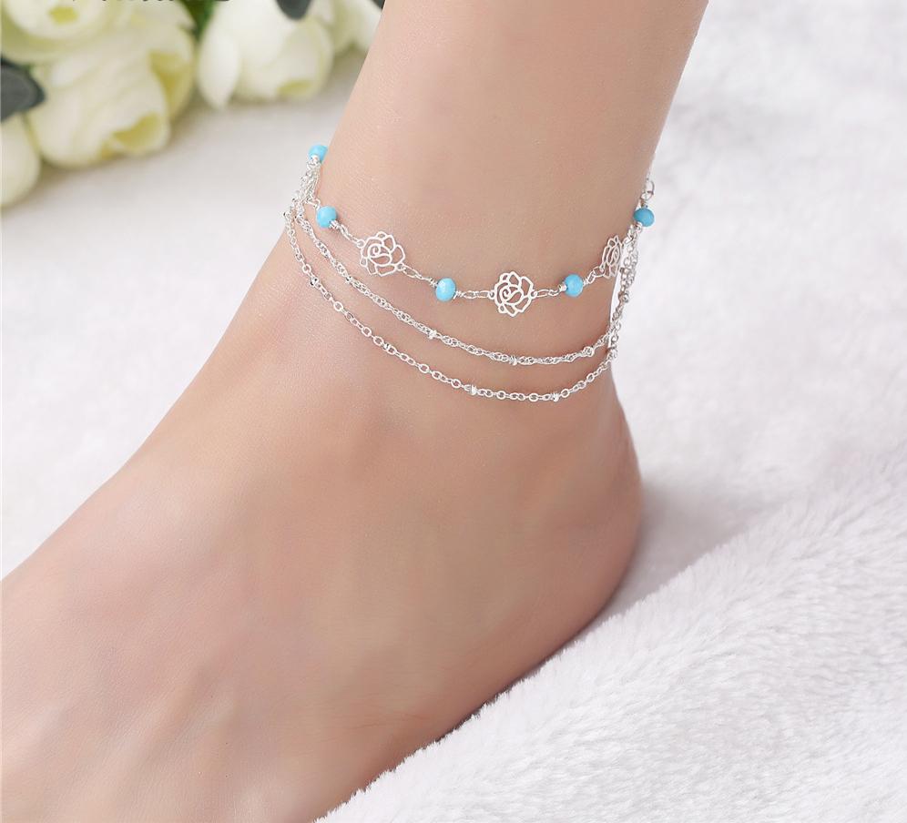 bracelet_de_cheville_rose_fleur_argent_bleu
