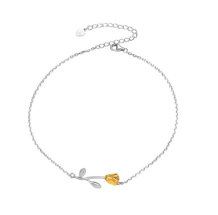 Bracelet de Cheville Rose Fleur plaqué Or