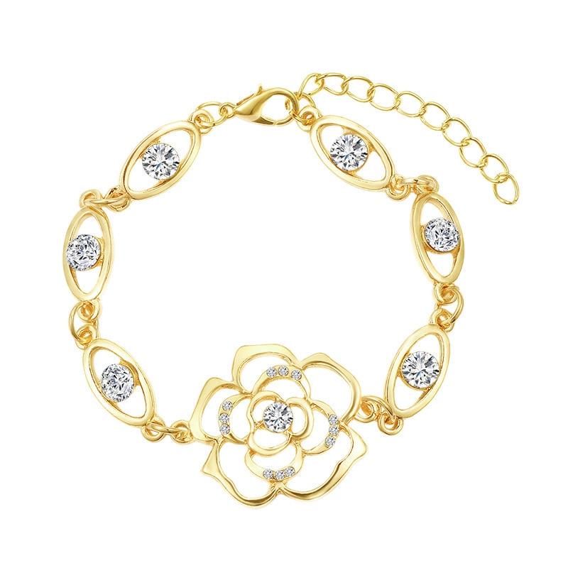 Bracelet Rose Fleur Or et Cristal