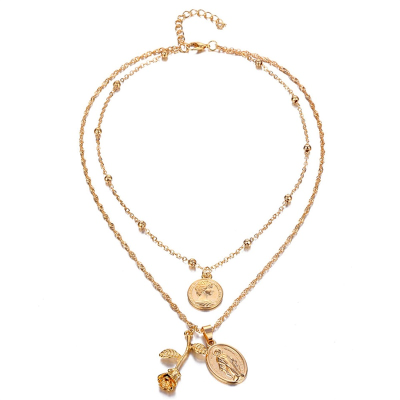 collier_rose_médaillon_vierge_or