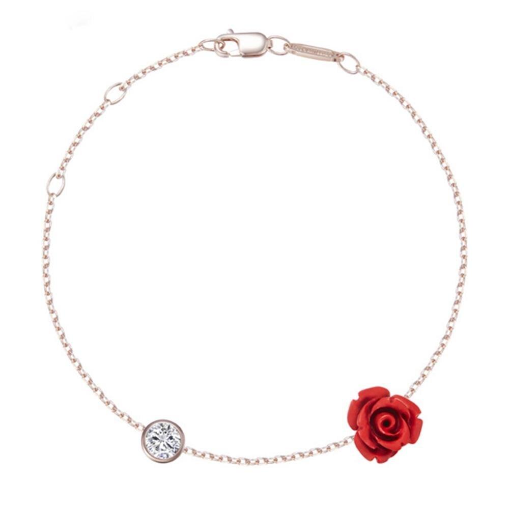 Bracelet de Cheville Rose Rouge