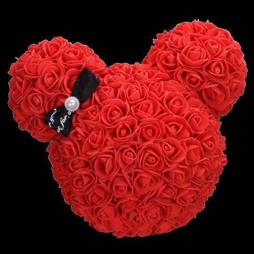 Tête Ours en Rose Fleur Éternelle