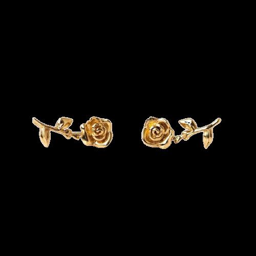 Boucles D\'oreilles Rose Fleur fermoir à vis (Argent)