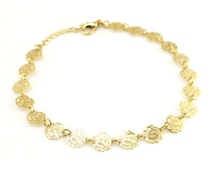 Bracelet de Cheville Rose Fleur Fine Or