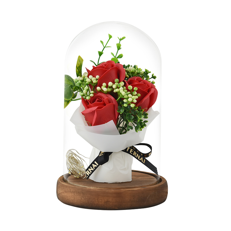 Bouquet Rose Éternelle sous Cloche