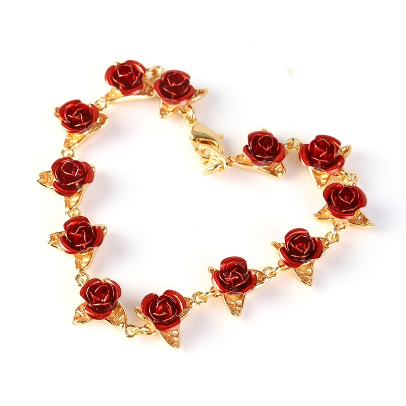 Bracelet 12 Fleurs Roses rouges