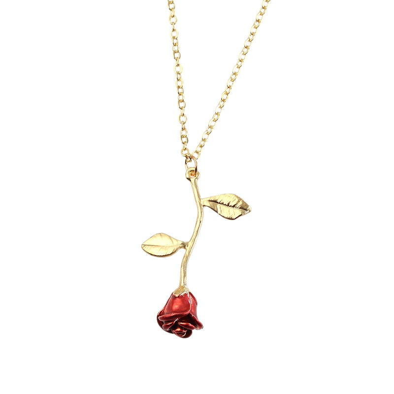 Collier Rose Fleur pointe rouge