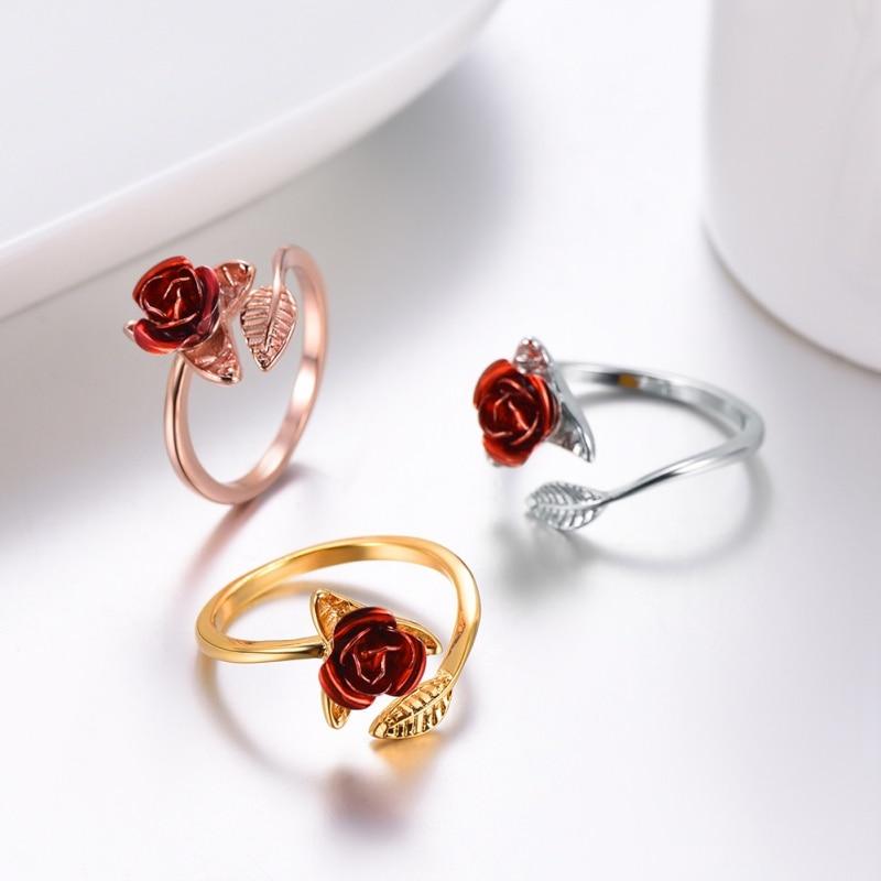 Bague Fleur Rose rouge