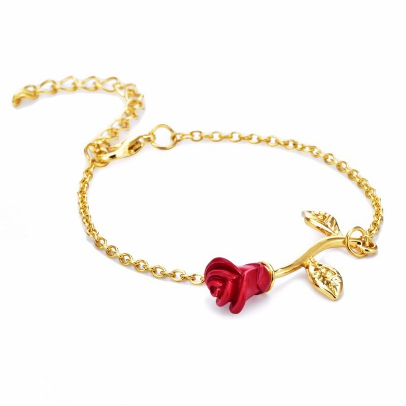 Bracelet Fleur Rose pointe rouge