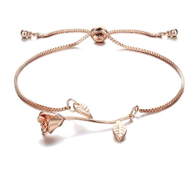 Bracelet Fleur Rose ajustable