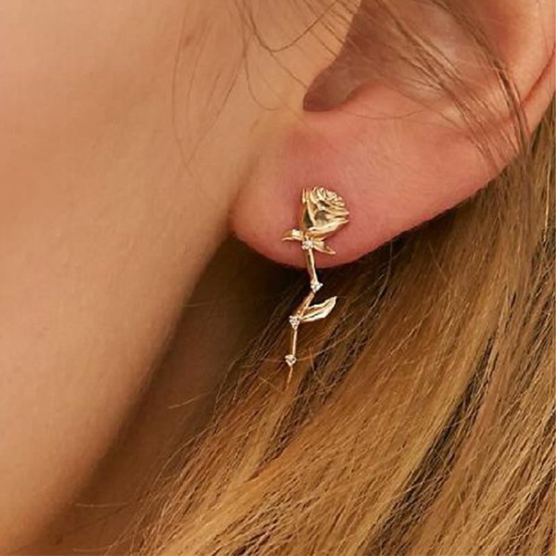 Boucles D\'oreilles Fleur Rose Diamant