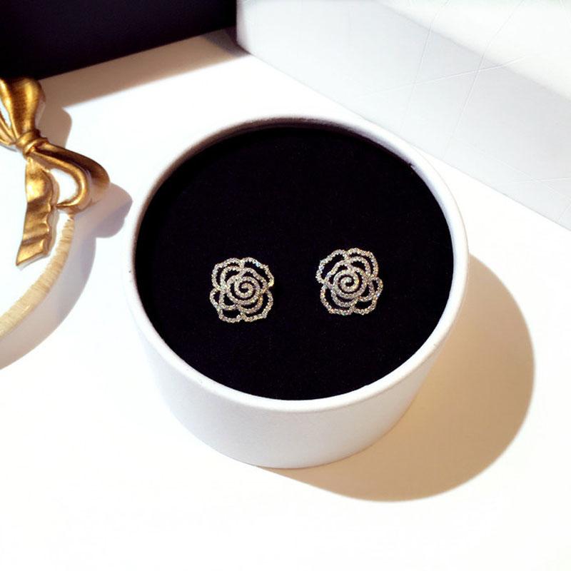 Boucles D\'oreilles Fleur Rose Cristal