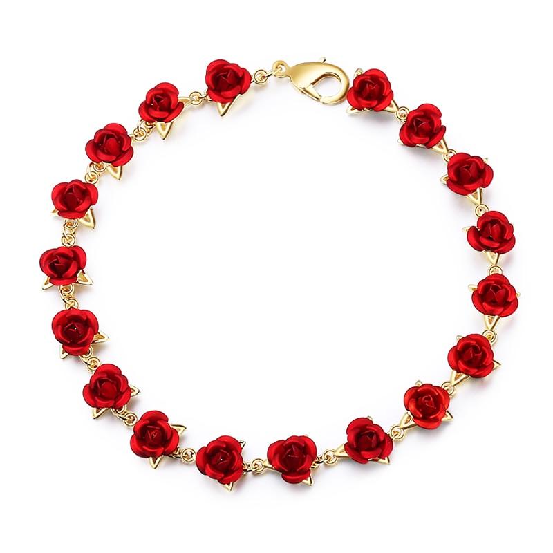 Bracelet Or 16 Fleurs Roses rouges