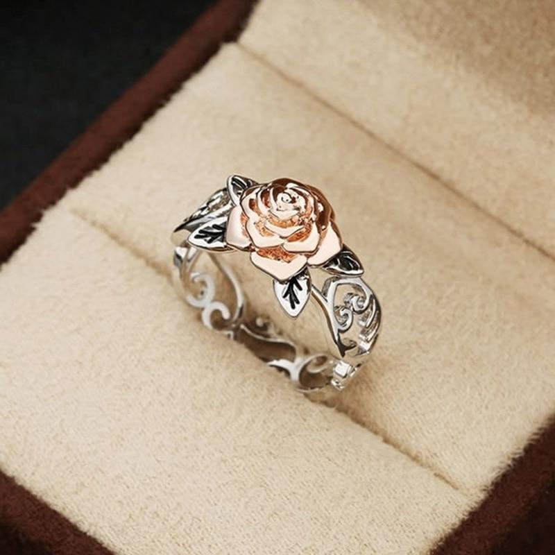 Bague Rose Fleur argent naturelle