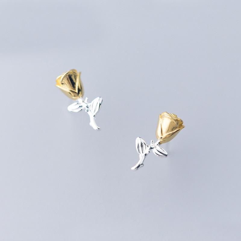Boucles D\'oreilles Fleur Rose Argent