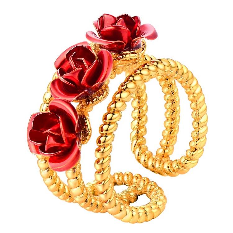 Bague 3 Fleurs Roses rouges