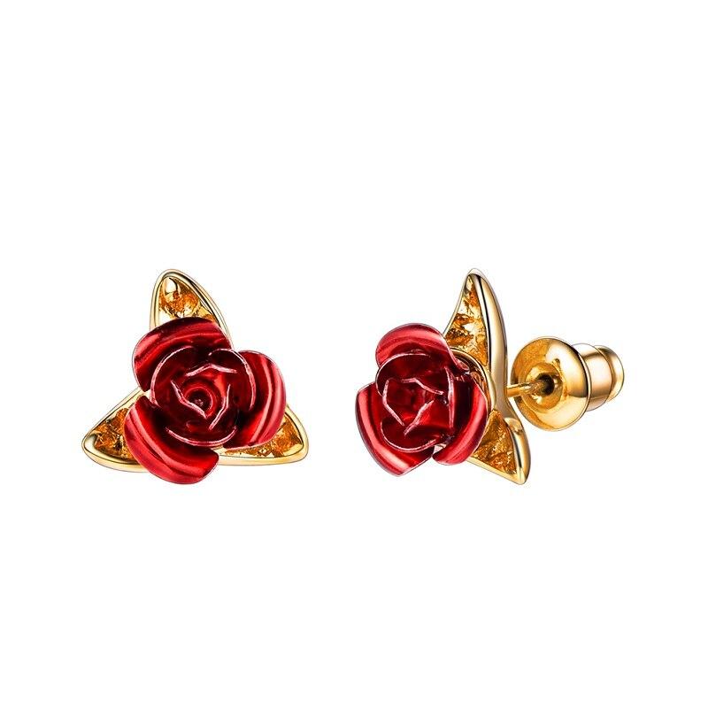 Boucles D\'oreilles Fleur Rose Rouge