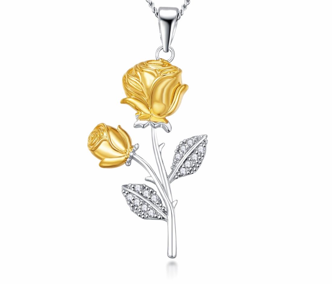 Collier Fleur 2 Roses Or Morganite