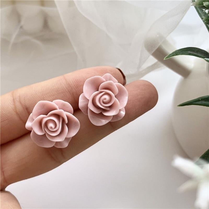 Boucles D\'oreilles Rose Fleur Rose