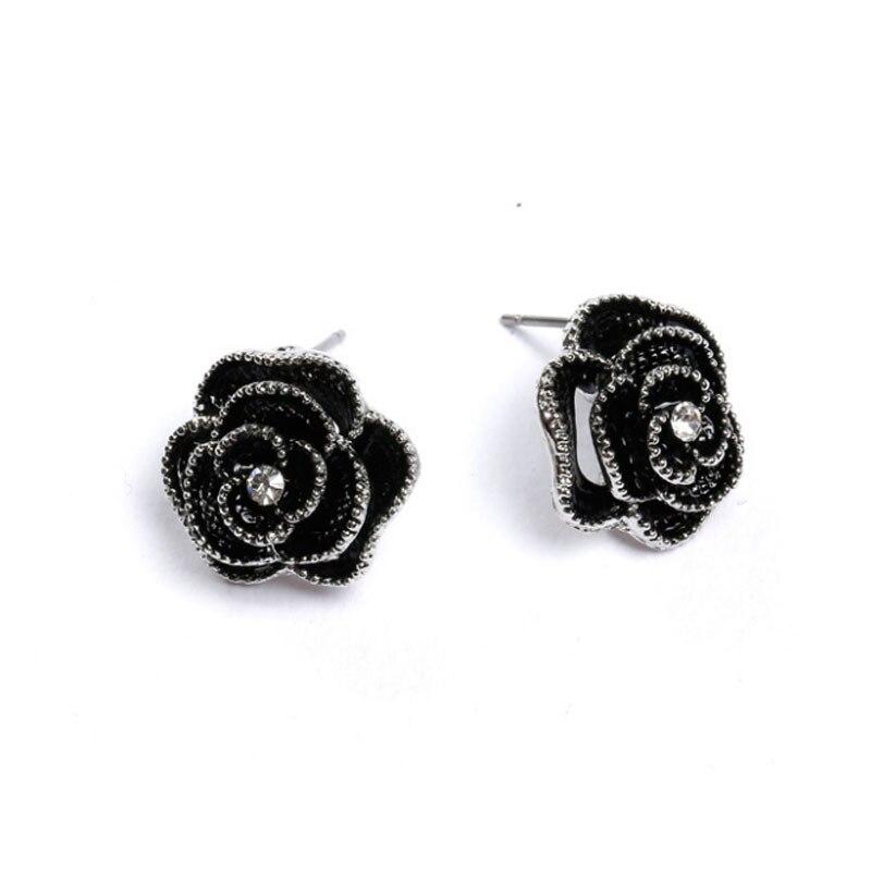 Boucles D\'oreilles Fleur Rose Noire