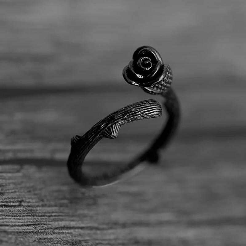 Bague Fleur Rose Noire Épine