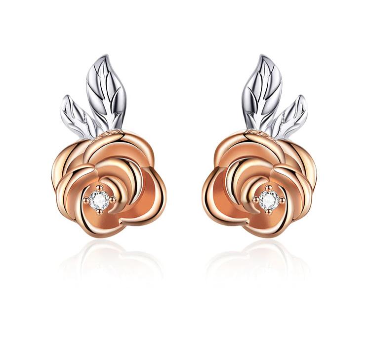 Boucles D\'oreilles Fleur Feuille Rose Argent