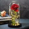 Belle-et-b-te-Rose-en-flacon-Led-Rose-fleur-lumi-re-noire-Base-verre-d