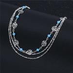 bracelet_de_cheville_rose_fleur_argent_bleu_femme