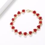 Bracelet-16-Roses-Rouges-Fleur-Or