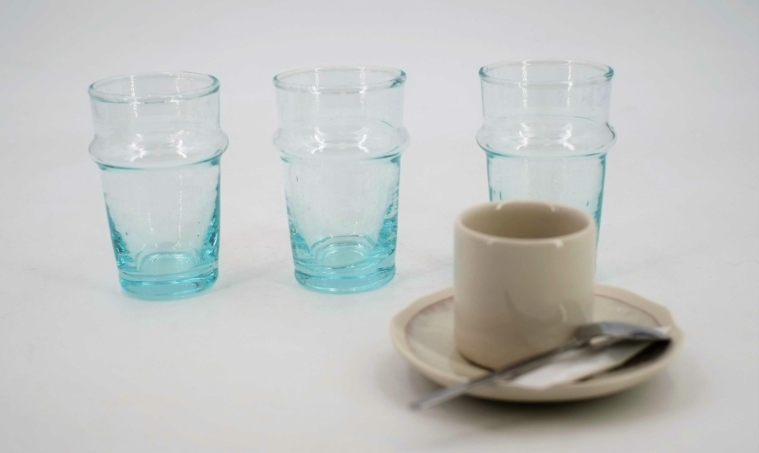 Verre à thé recyclé soufflé du Maroc - Lot de 6