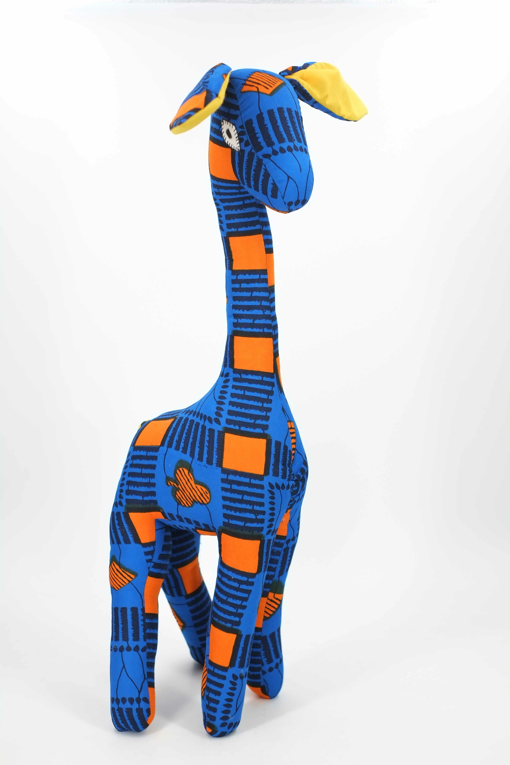 Grande girafe décorative en wax du Sénégal