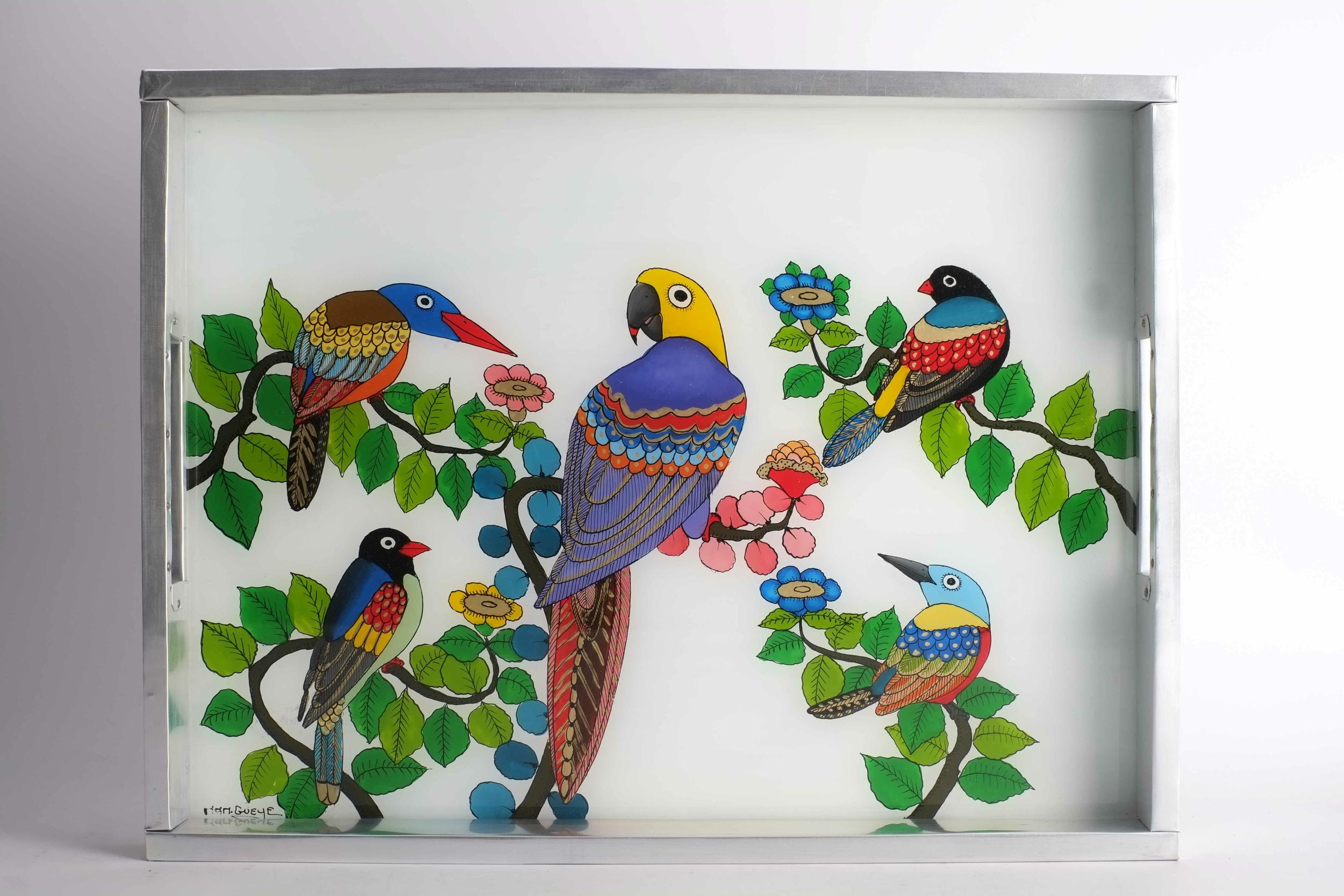 Plateau aux oiseaux tropicaux en fixé sous verre du Sénégal