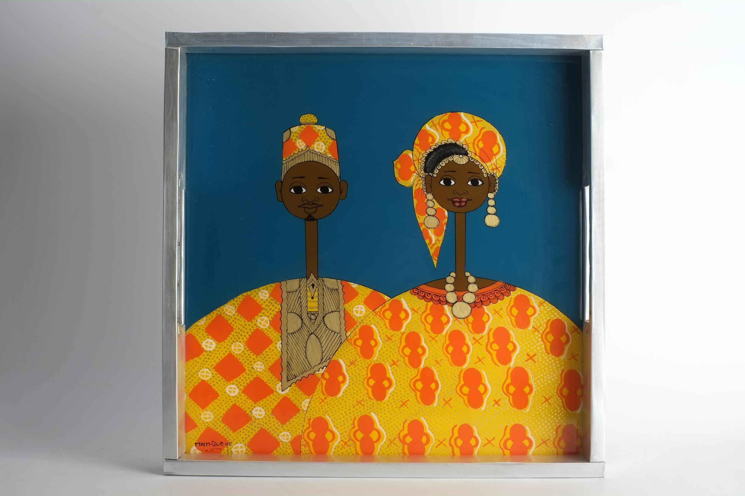 Plateau de couple en fixé sous verre du Sénégal