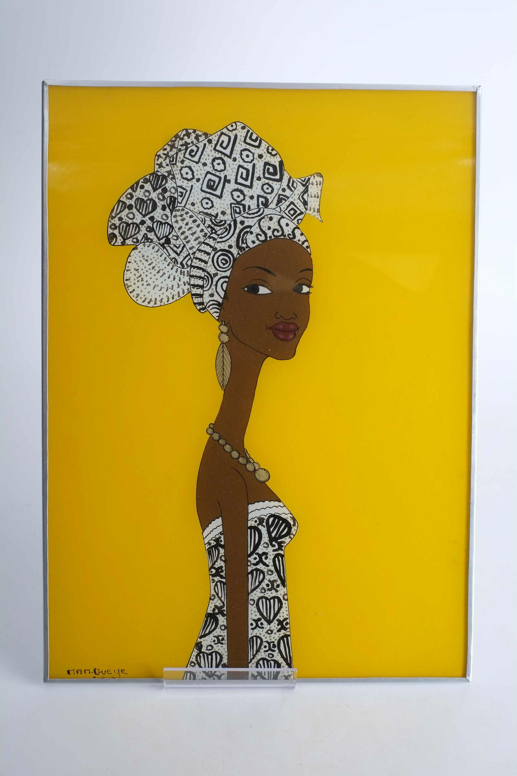 Tableau de femme en fixé sous verre du Sénégal