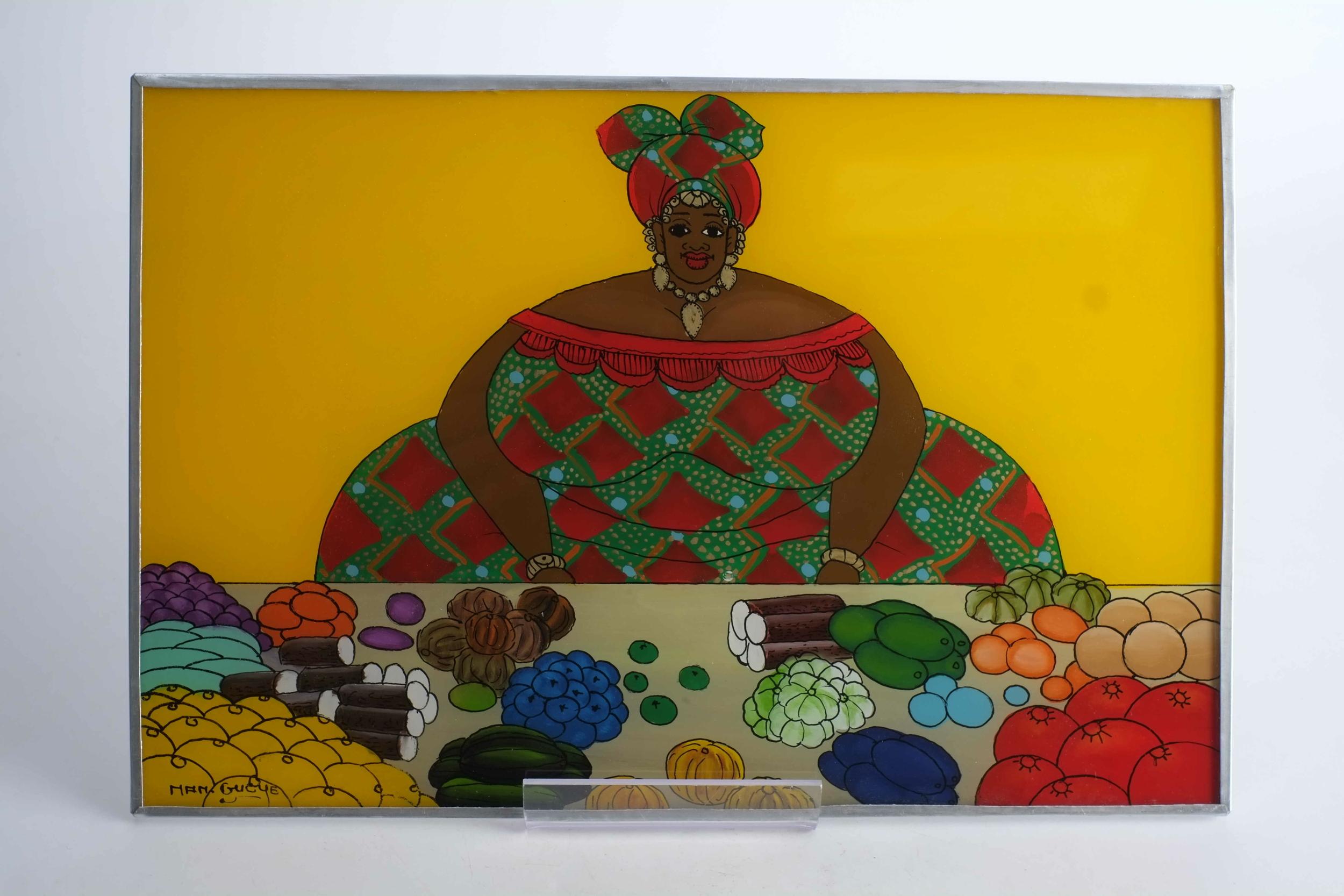 Tableau de femme au marché en fixé sous verre du Sénégal