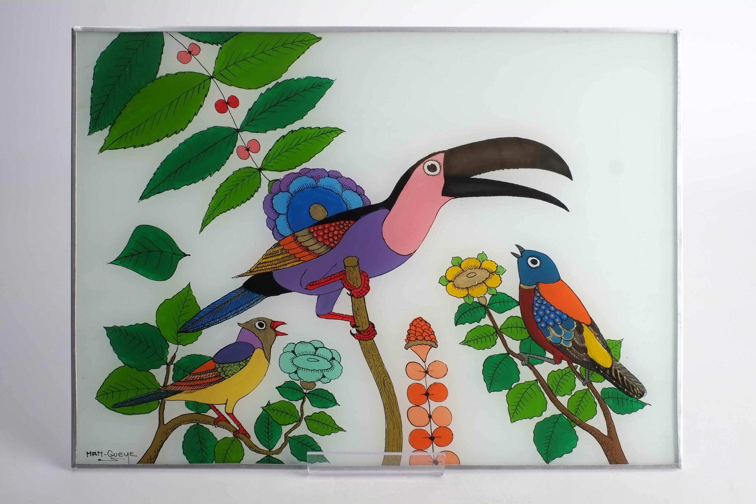 Tableau d\'oiseaux tropicaux en fixé sous verre du Sénégal