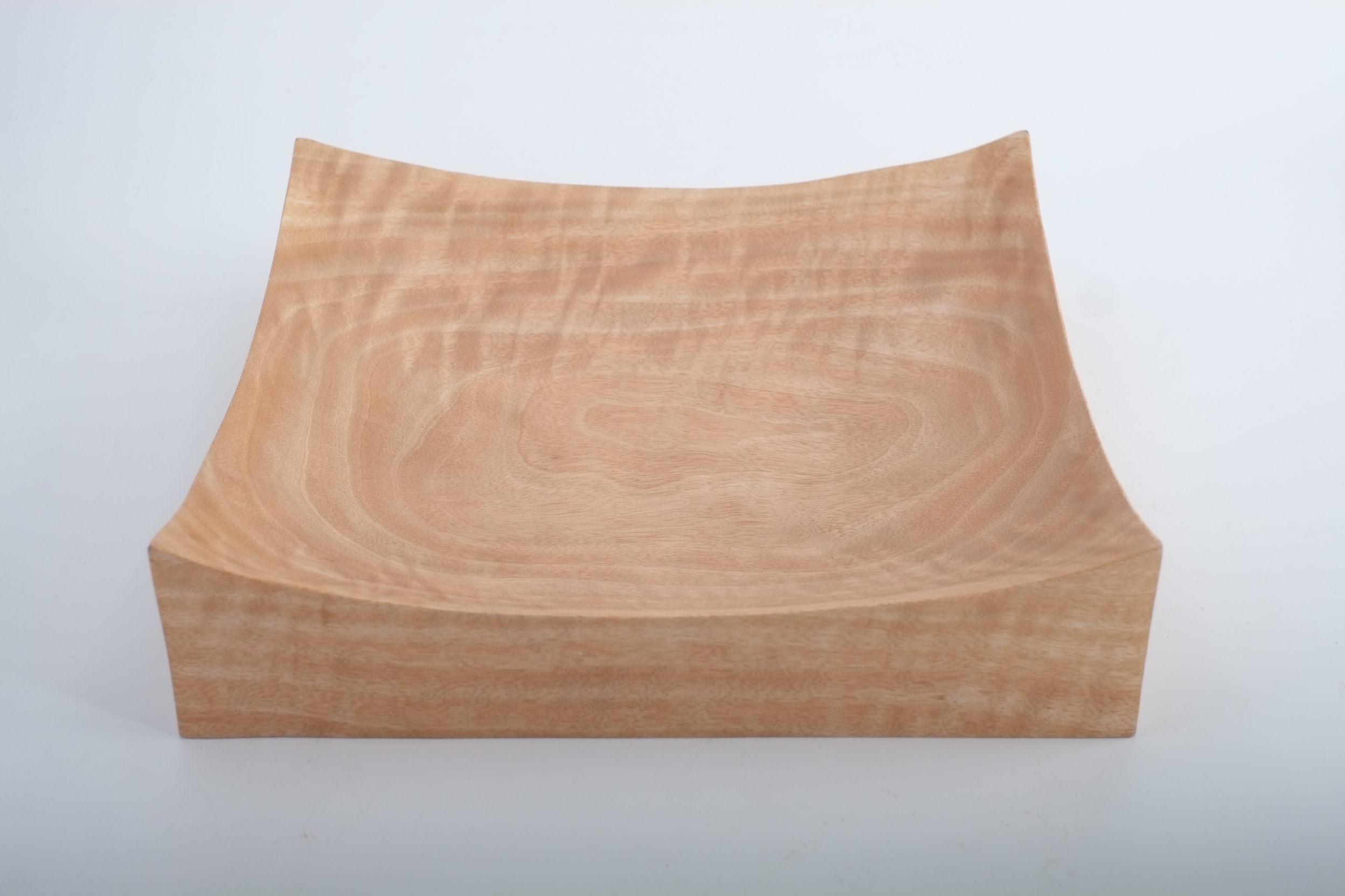 Plat de présentation carré en bois de manguier récupéré de Thaïlande