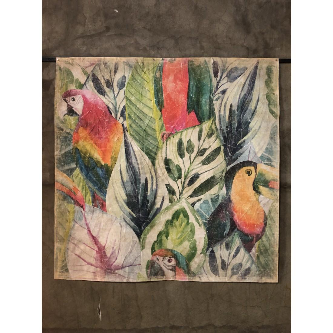 Tableau aux perroquets et toucan - papier froissé marouflé sur cadre bois