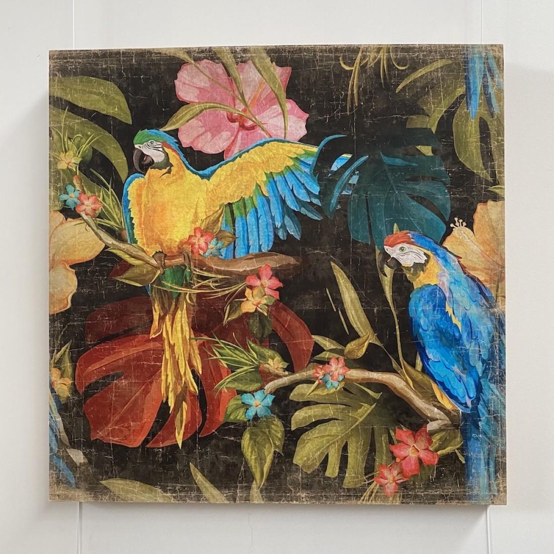 Tableau aux aras bleus - papier froissé marouflé sur cadre bois