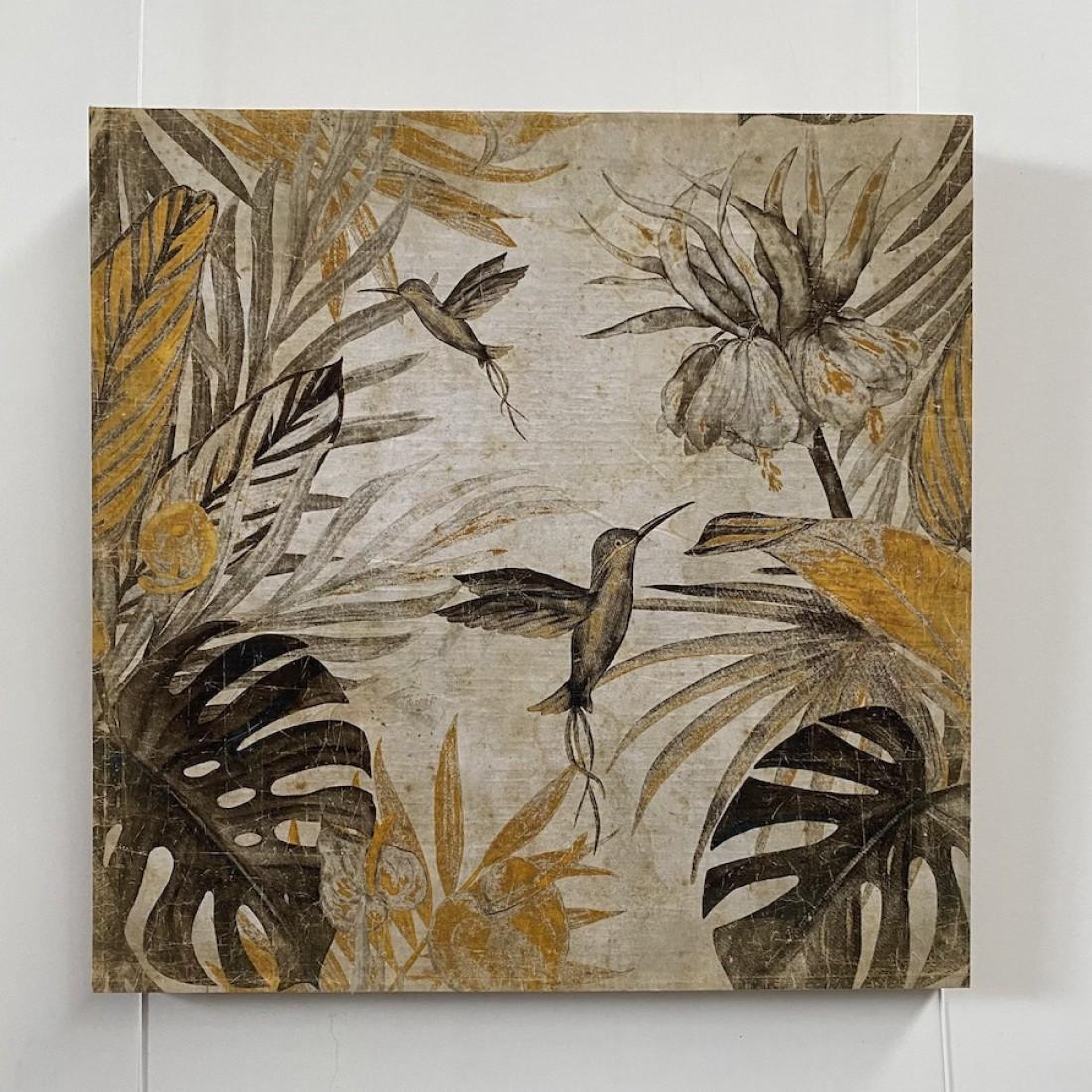 Tableau aux colibris butinant - papier froissé marouflé sur cadre bois