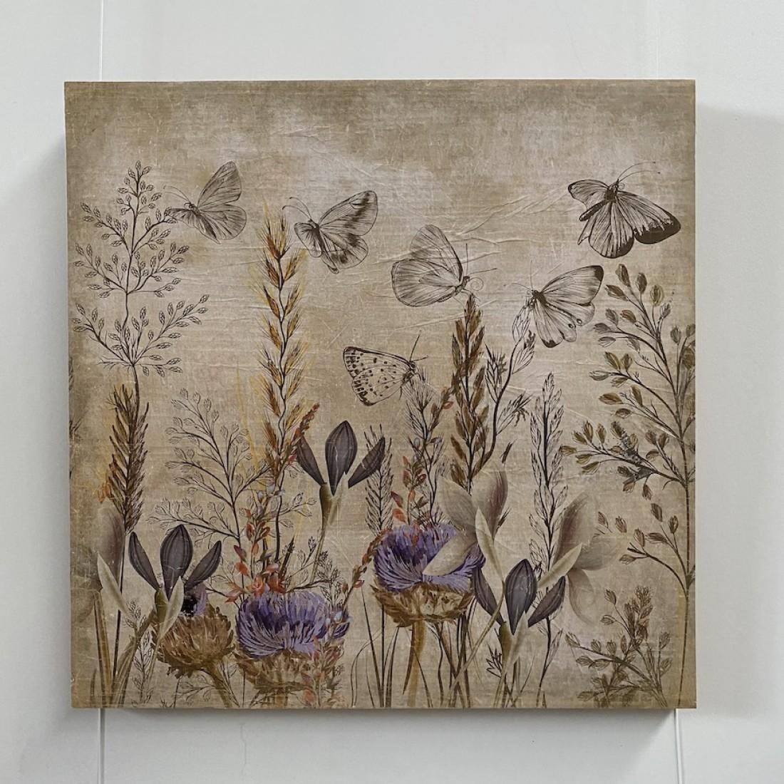 Tableau au décor champêtre et papillons - papier froissé marouflé sur cadre bois