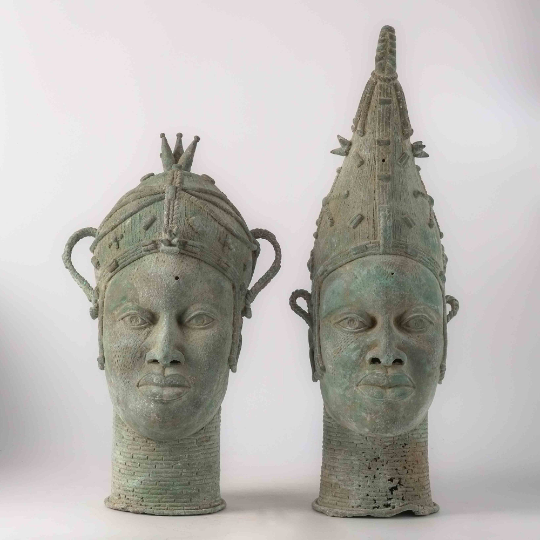 Couple royal Oba en bronze - VENDU