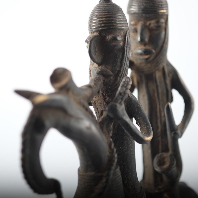 Cheval à deux cavaliers en bronze - Tchad