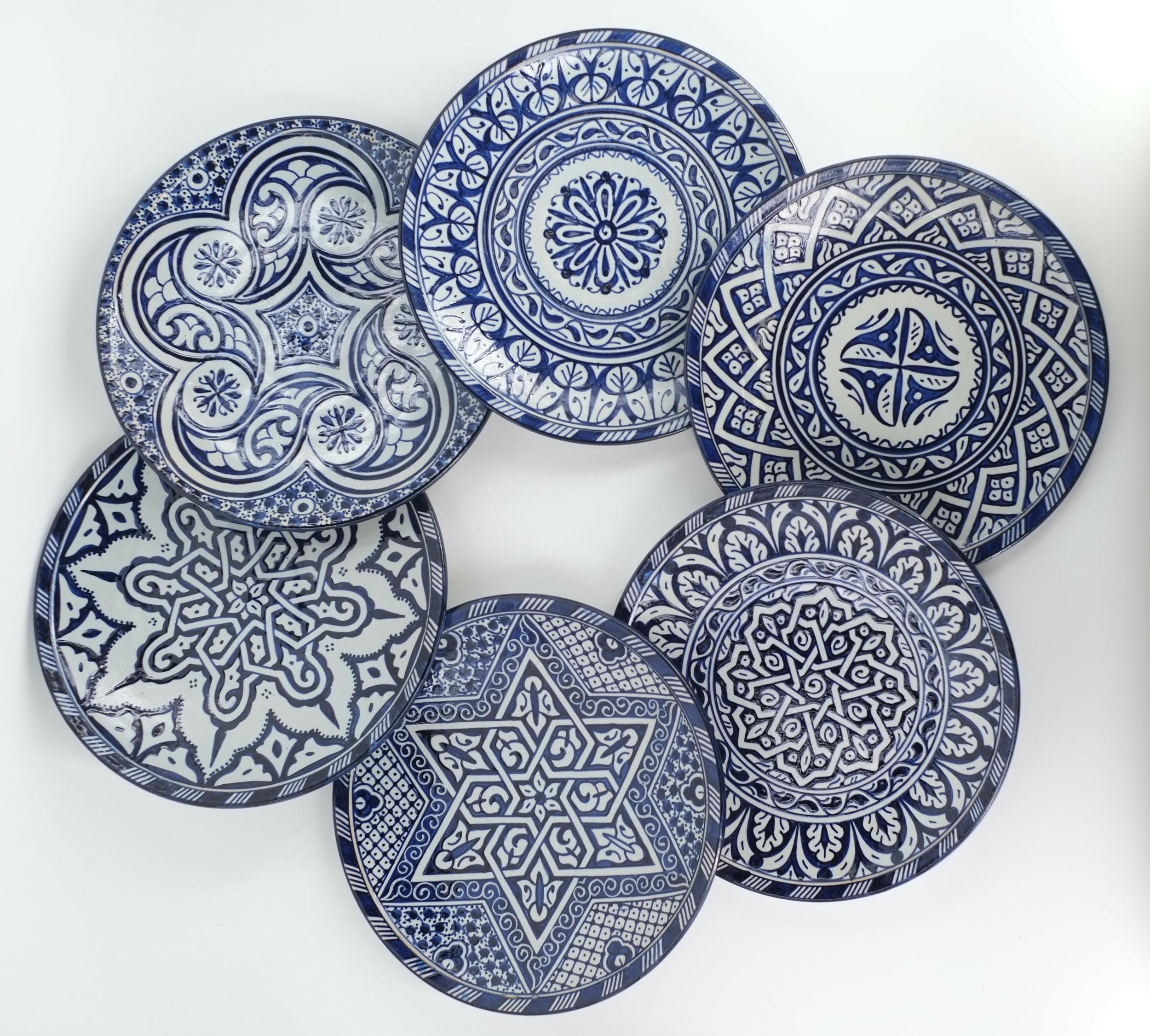 Assiette en céramique bleu de Fès - Maroc