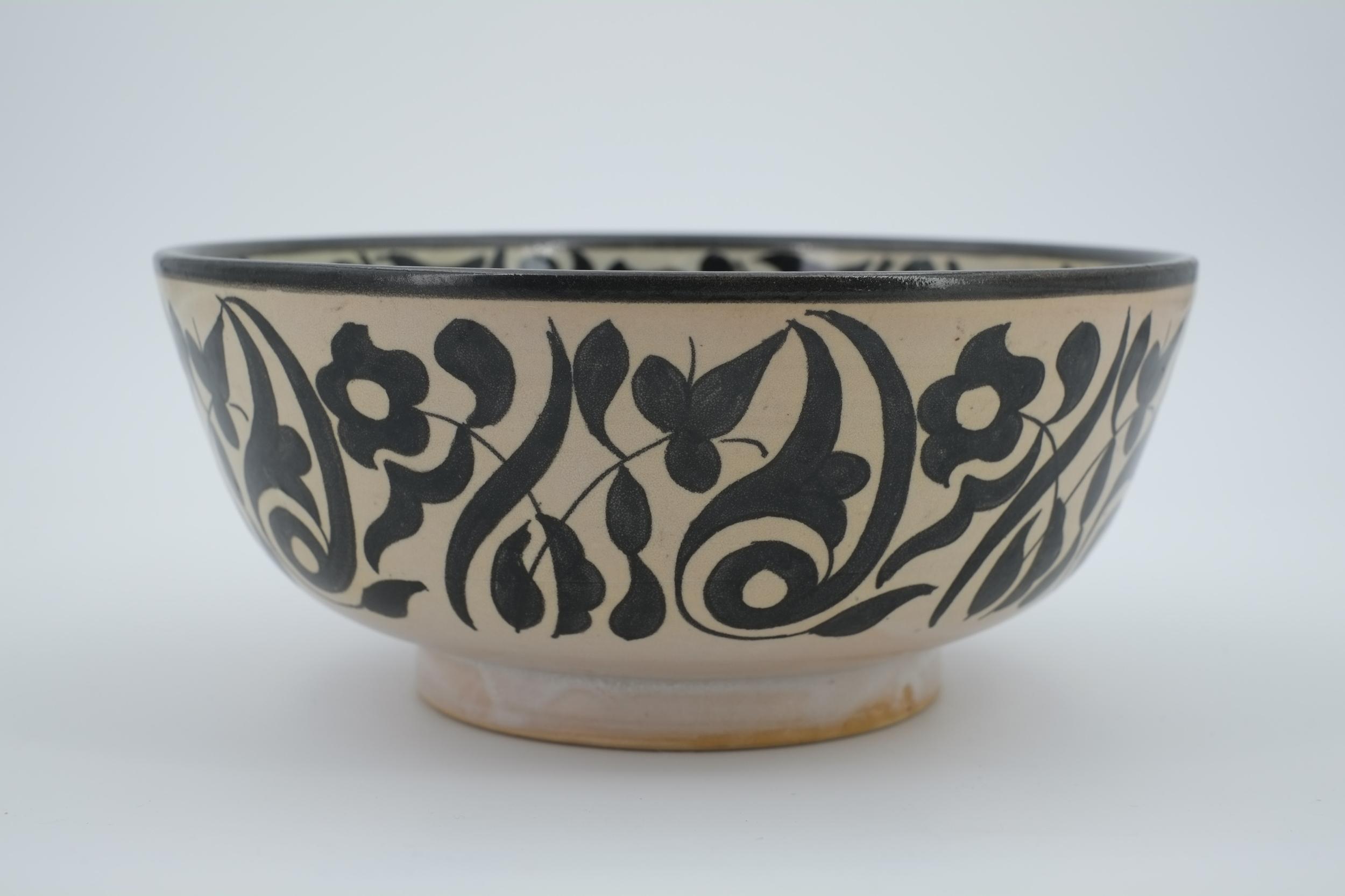 Saladier noir & blanc floral en céramique de Fès - Maroc