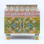 Coffre peint en bois de cèdre de l'Atlas